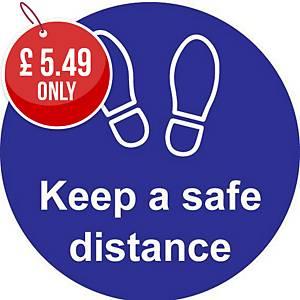 Blue Floor Graphic - Keep A Safe Distance