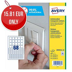 Avery Surface Protecting Film Square Stickers, Mixed Sizes, Pack 680