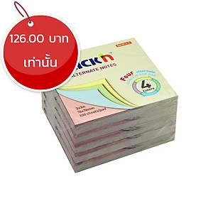 STICKN กระดาษโน๊ต 21821 4+1 3X3 นิ้ว 4 สี พาสเทล