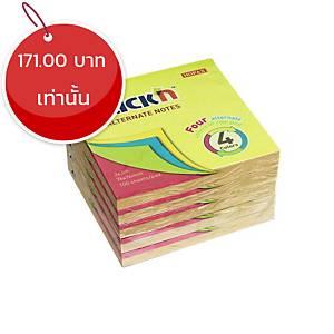 STICKN กระดาษโน๊ต 21822 4+1 3X3 นิ้ว 4 สี นีออน
