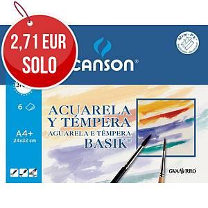 Minipack 6 hojas acuarela basic Canson - A4+ - 370 gr/m2
