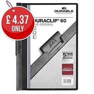 Durable Duraclip 60 A4 Presentation Folder Black - Pack of 25