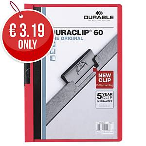 Durable Duraclip 60 A4 Presentation Folder Red - Pack of 25