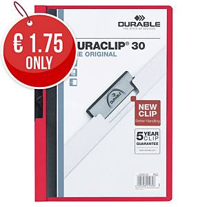 Durable Duraclip 30 A4 Presentation Folder Red - Pack of 25