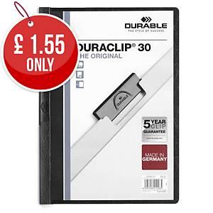 Durable Duraclip 30 A4 Presentation Folder Black - Pack of 25