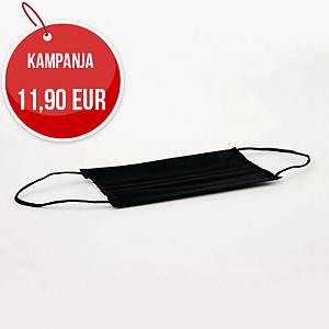 Kingfa Type IIR kirurginen kasvomaski musta, 1kpl=50 maskia
