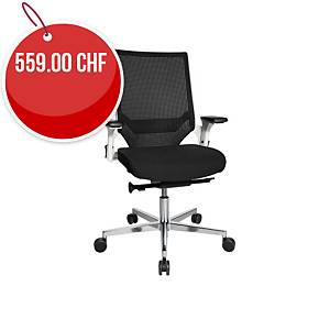 Chaise de bureau Chairzone Self One Pro,dossier filet et accoudoir, noir/ blanc
