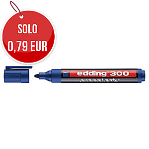 Marcatore indelebile Edding 300 in plastica punta tonda blu
