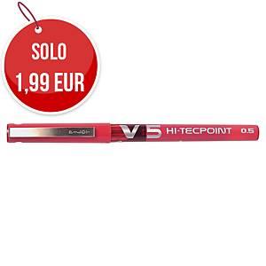 Penna roller con cappuccio Pilot V5 punta ad ago 0,5 mm rosso