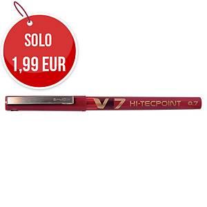 Penna roller con cappuccio Pilot V7 punta ad ago 0,7 mm rosso