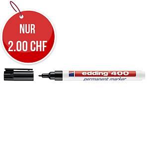 Permanent Marker Edding 400, Rundspitze, Strichbreite 1 mm, schwarz