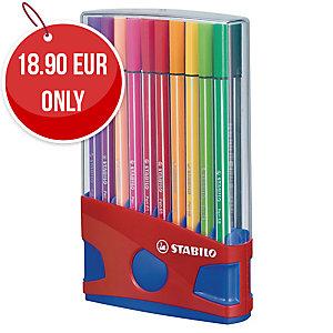 Stabilo 68 Assorted Colour Fibre Tip Pens - Box of 20