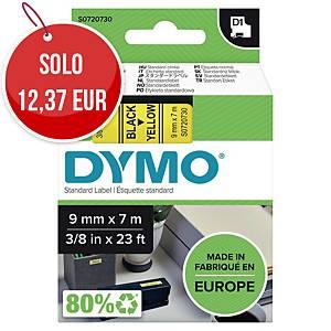 Nastro D1 per etichettatrice Dymo 9 mm nero/giallo S0720730