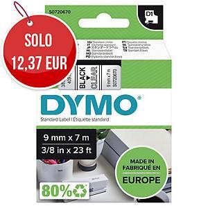 Nastro D1 per etichettatrice Dymo 9 mm nero/trasparente S0720670