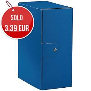 Cartella portaprogetto Esselte Eurobox cartone con bottone dorso 15 cm blu