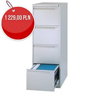 Szafa kartotekowa BISLEY, 4 szuflady, waga 55 kg, 132 x 47 x 62 cm, szara