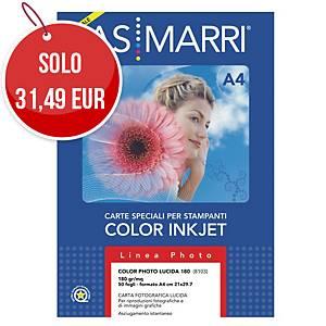 Carta fotografica lucida AS MARRI stampanti inkjet A4 180 g/mq - risma 50 fogli