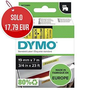 Nastro D1 per etichettatrice Dymo 19 mm nero/giallo S0720880