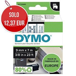 Nastro D1 per etichettatrice Dymo 9 mm blu/bianco S0720690
