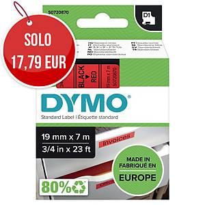 Nastro D1 per etichettatrice Dymo 19 mm nero/rosso S0720870