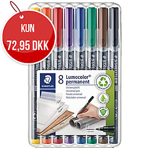 Universal marker Lumocolor fine æske a 8 stk.