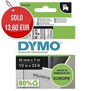 Nastro D1 per etichettatrice Dymo 12 mm nero/trasparente S0720500