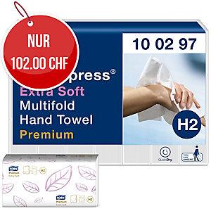 Falthandtuch Tork Premium 100297, Interfold, 2-lg., weiss, Pk. à 21x100 Tücher