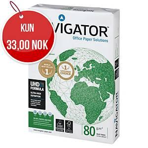 Multifunksjonspapir Navigator Universal A4 80 g, eske à 5 x 500 ark