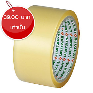 UNITAPE เทปปิดกล่อง OPP กาวยางธรรมชาติ ขนาด 2 นิ้ว X 45 หลา แกน 3 นิ้ว สีใส