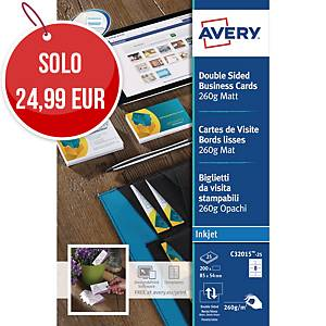 Biglietti da visita stampabili Avery C32015-25 stampanti ink-jet - conf. 200
