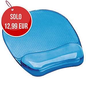 Tappetino mouse con poggiapolsi Fellowes Crystal Gel blu