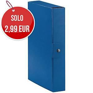 Cartella portaprogetto Esselte Eurobox cartone con bottone dorso 6 cm blu