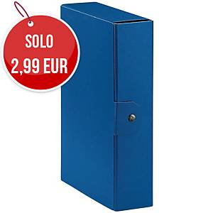 Cartella portaprogetto Esselte Eurobox cartone con bottone dorso 8 cm blu
