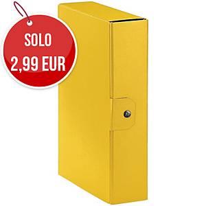 Cartella portaprogetto Esselte Eurobox cartone con bottone dorso 8 cm giallo