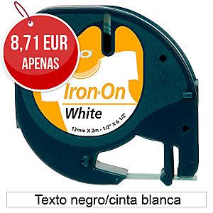 Fita termotransferível DYMO LetraTag de tecido com texto preto/fundo branco