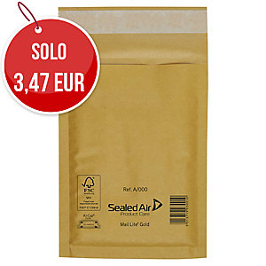 CONF. DA 10 BUSTE A SACCO IMBOTTITE MAIL LITE GOLD 22 X 26 CM COL. AVANA
