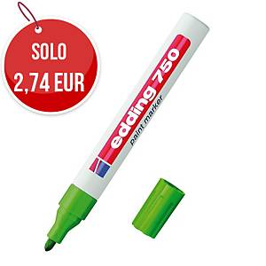 Marcatore indelebile Edding 750 fusto metallo punta tonda 2-4 mm verde