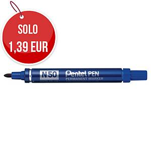 Marcatore indelebile Pentel N50 fusto in alluminio punta tonda tratto 1,5 mm blu