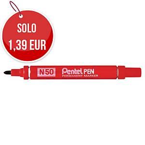 Marcatore indelebile Pentel N50 fusto alluminio punta tonda tratto 1,5 mm rosso