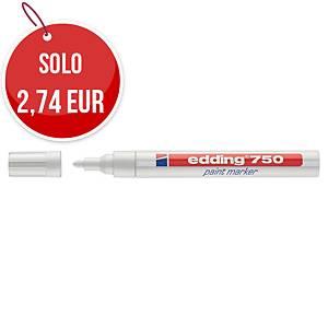 Marcatore indelebile Edding 750 fusto metallo punta tonda 2-4 mm bianco