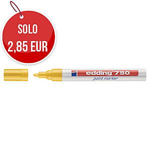 Marcatore indelebile Edding 750 fusto metallo punta tonda 2-4 mm giallo