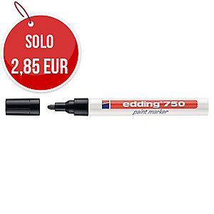 Marcatore indelebile Edding 750 fusto metallo punta tonda 2-4 mm nero