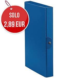 Cartella portaprogetto Esselte Eurobox cartone con bottone dorso 4 cm blu