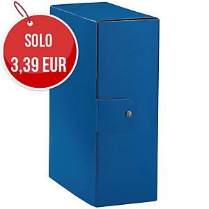 Cartella portaprogetto Esselte Eurobox cartone con bottone dorso 12 cm blu