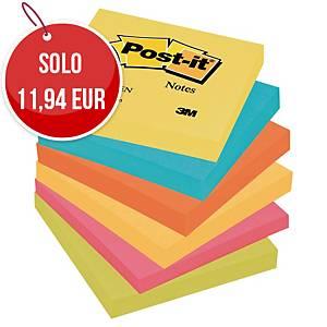 Foglietti Post-it® adesivo standard kit 6 blocchetti 76x76mm colori energy