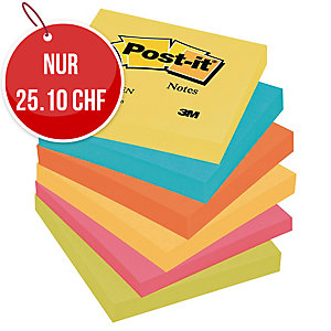 Haftnotizen Post-it 654-TFEN 76x76 mm, 100 Blatt, Pk. à 6 Stk.