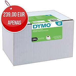 Pack de 24 rolos de 260 etiquetas adesivas Dymo LW - 89 x 36 mm - branco
