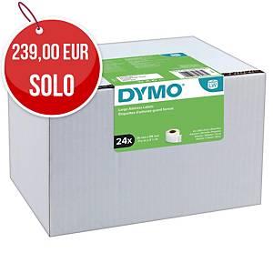 Pack de 24 rollos de 260 etiquetas adhesivas Dymo LW - 89 x 36 mm - blanco