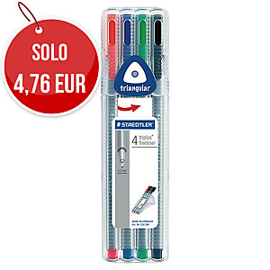 Pennarelli Staedtler Triplus Fineliner punta fine colori assortiti - conf. 4