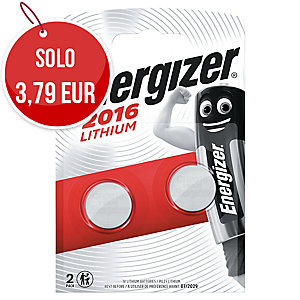 BATTERIE AL LITIO ENERGIZER PER CALCOLATRICI CR2016 3V 1,60MM - CONF. 2